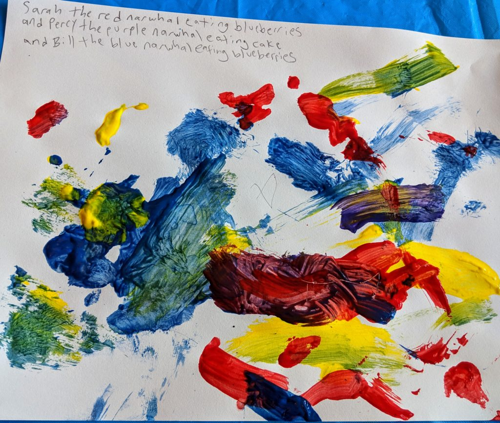 A toddler's painting of, apparently, some narwhals